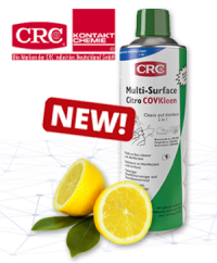 Clean and disinfect:  COVKLEEN - The new surface cleaner from CRC